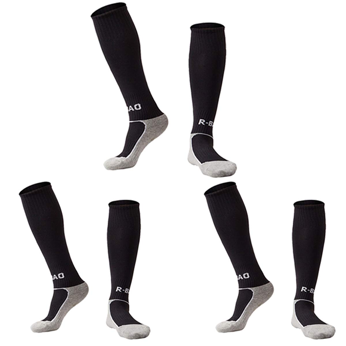 Toddler Soccer Socks Long Football Compression Sports Socks 3 Pack Black XS by KALAKIDS