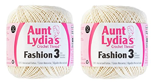 Aunt Lydia's Crochet Thread - Size 3 - (2-Pack) Bridal White by Aunt Lydia's