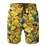 Beachsite Rubber Duck Painting Men's/Boys Casual Swim Trunks Short Elastic Waist Beach Pants With Pockets