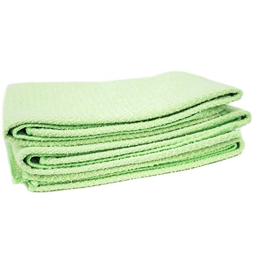 "Zwipes Microfiber Waffle Weave Kitchen Dish Towel (Size: 12"" x 25""), Stemware & Bar Cleaning Cloth, 6-Pack, Green"