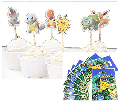 Pack of 20 Gift Party Loot Bags AND 24 Pokemon Inspired Cupcake Topper PAPER Tooth Picks Party Decoration for Kid's Birthday Party Decoration Supplies- The Toy Explorer Brand -