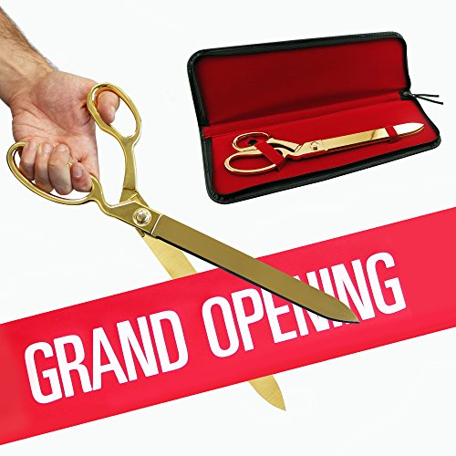 FREE Grand Opening Ribbon with 15' Gold Plated Ceremonial Ribbon Cutting Scissors and Case