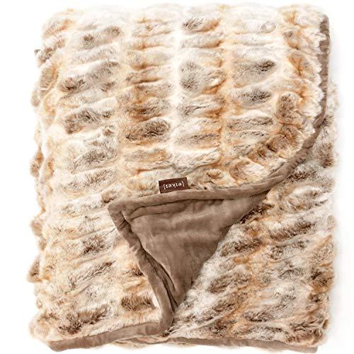 Luxury Faux Fur Oversized Throw Blanket with Plush Velvet Reverse, Fox Lynx or Gray Mink (Fox Ruched)