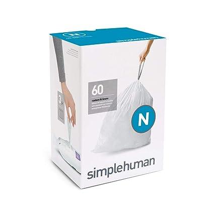 simplehuman - Bolsas de basura a medida, color blanco, código N - 45-50 L, pack de 60