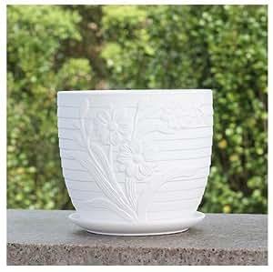 Cerámica blanco puro casa/jardín redonda rayas flor maceta con platillo de la bandeja, con girasol figura decorativa