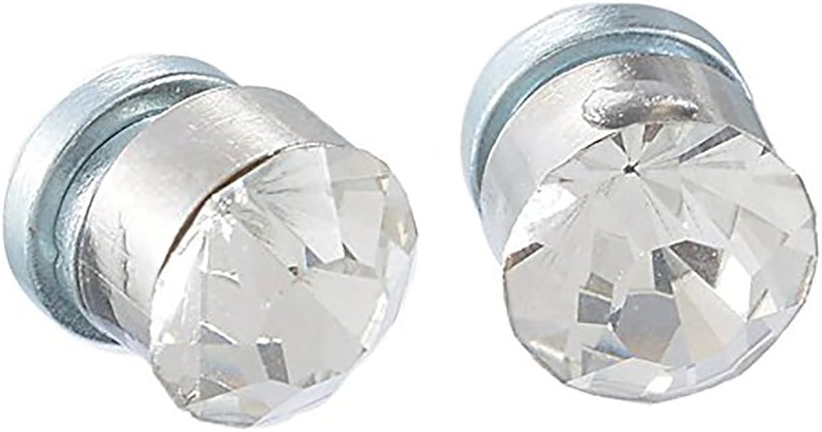 KY Pendientes cuadrados con imán de cristal negro con ventosa magnética para mujer