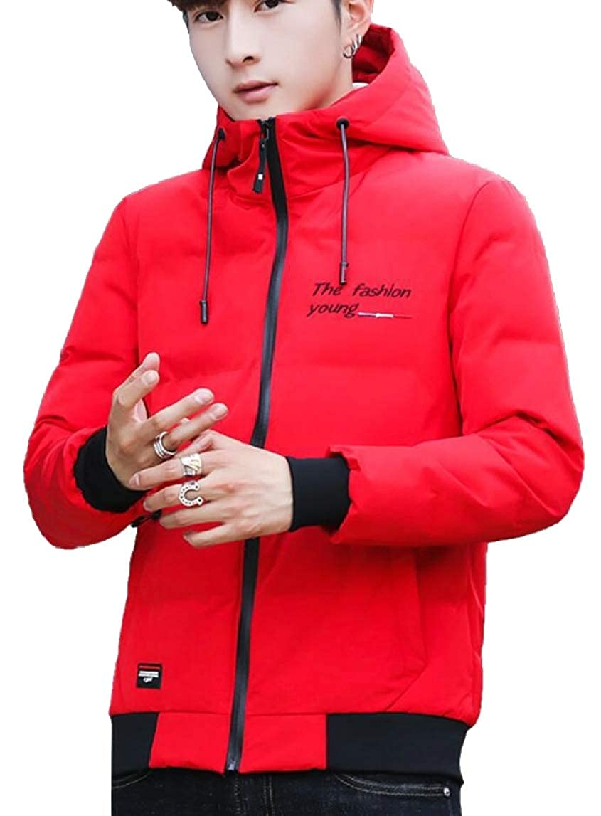 HTOOHTOOH Mens Slim Fit Thicken Zipper with Hood Warm Winter Padded Down Jacket Coat