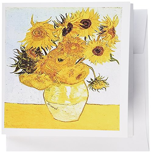 3dRose Set of 12 Greeting Cards, The Vase with Sunflowers By Van Gogh (gc_100908_2) (12 Sunflowers In A Vase Van Gogh)