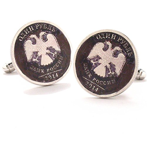 Russian Eagle Cufflinks Cuff Links Russia Bank Seal Coins Money Ruble Finance Trade Empire ()