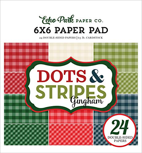 Echo Park Paper Company GH18046 Christmas Gingham 6x6 Pad Paper, 6-x-6-Inch, -