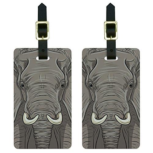 (Elephant - Africa Safari Luggage Tags Suitcase Carry-On ID Set of)