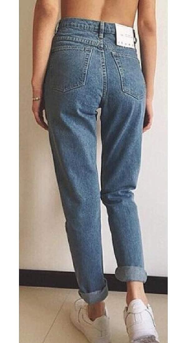 H/&E Pantaloni da Donna Autunnali in Denim Slim Jeans a Vita Alta