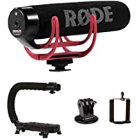 Stabilizing Camera Grip Handle + Rode VideoMic GO On-Camera Microphone for Canon Nikon Panasonic DSLR Mirrorless Camera