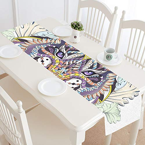 - WIEDLKL Ed Head Roaring Tiger On Table Runner Kitchen Dining Table Runner 16x72 Inch for Dinner Parties Events Decor