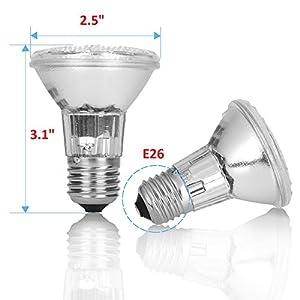 DIMMABLE 35PAR20/FL PAR20 6 Pack 120V 130V 35 Watt Halogen Spot Light Bulb 35 Watts Recessed Can Ceiling Kitchen Bathroom Lighting Lamp 39W 38W 50W Replacement 120 Volt 130V 35W Flood Beam Wide Angle