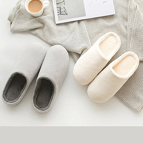 LINGMIN Womens All Plush Fur Slippers, Comfort Air Cushion Slippers,Nonslip,Softness &Terrycloth 017 Grey