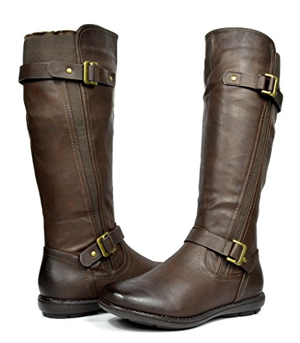 DREAM PAIRS Women's Trace Brown Faux Fur-Lined Knee High Winter Boots Size 10 M US