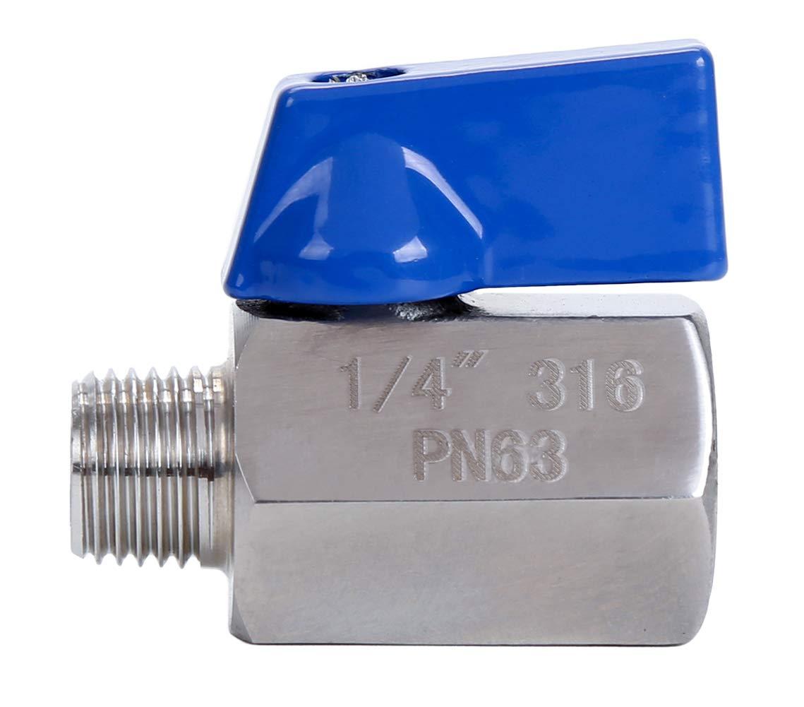 """HOMPAT 1//2/"""" NPT Mini Ball Valve Stainless Steel 316 1//2/"""" Female/& Male"""