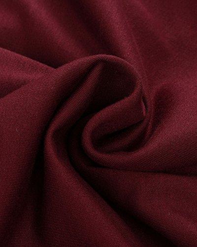 ZANZEA Mujeres Camiseta Con Manga Larga Cuello Redondo Camisa BLouses T Shirt Pullover Sudadera Vino Tinto