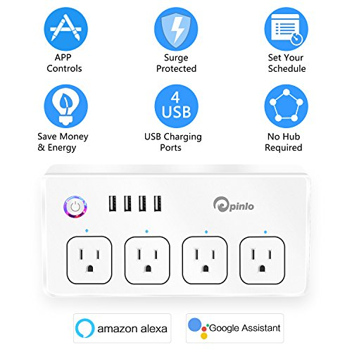 Smart Power Strip, Wifi Surge Protector, Voice Control with Alexa & Google Home, 4 AC Outlets 4 USB Port with 6-Foot Cord, App Control Appliances, Individual Control, Timing Schedule, No Hub