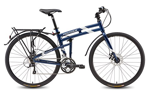 Cheap Montague Navigator 27 Speed, Folding Hybrid commuter Bike, 700c Custom drawn 7005 Series Aluminum with DirectConnect System Midnight Blue 21 Inches-New Model