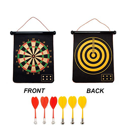 GSE Games & Sports Expert 2 in 1 Magnetic Dartboard Set with 6 Safety Darts for Kids & Adults ()