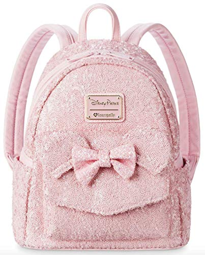 Disney Parks Loungefly Millennial Pink Minnie Mouse Sequin Backpack -