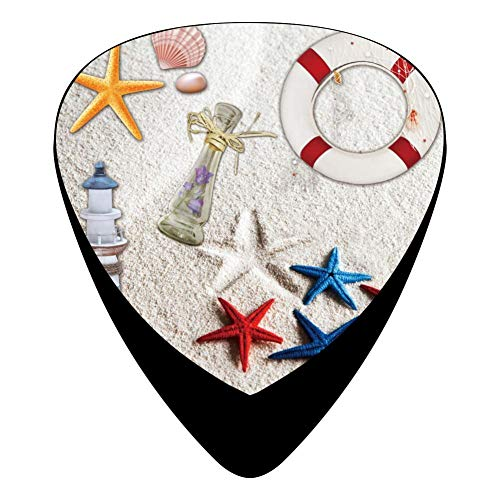 (KINGOCK Seashell Collage Summer Sea Stars Celluloid Guitar Picks Unique Guitar Gift for Bass, Mandolin, Electric & Acoustic Guitars,12 Pack)