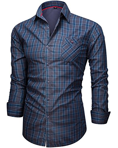 Long Dress Sleeve Plaid Shirt (Men's Casual Cotton Collared Checked Long Sleeve Plaid Button Down Dress Shirt Blue A Medium)