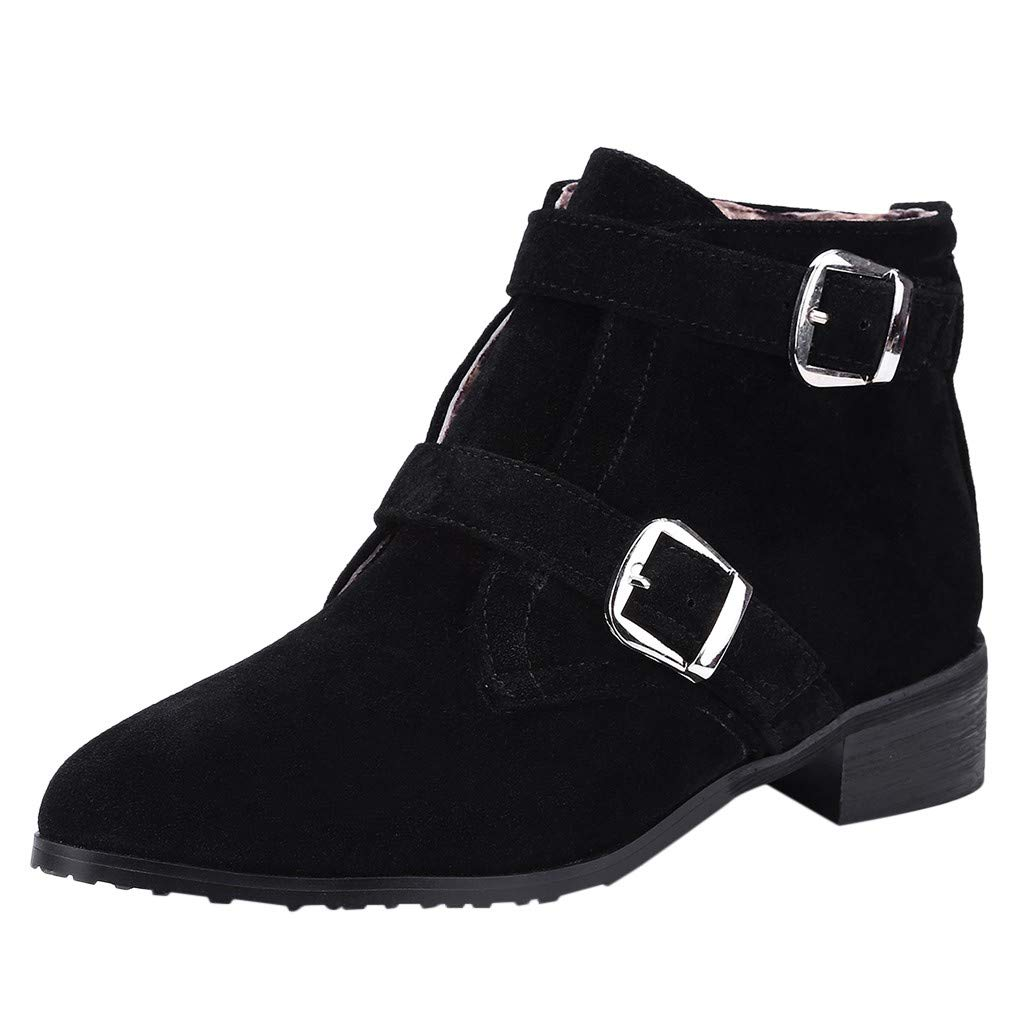❤Kauneus❤ Women's Pointed Toe Suede Low Heel Ankle Booties Buckle Strap Zip Fur Lining Winter Shoes Fashion Martin Boots Black by Kauneus Fashion Shoes