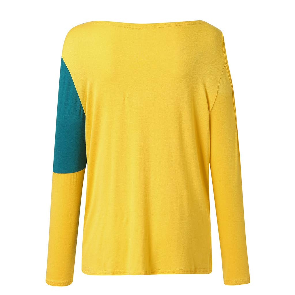 GridNN Womens Casual Panel Top Round Neck Long Sleeve Off Shoulder Blouse