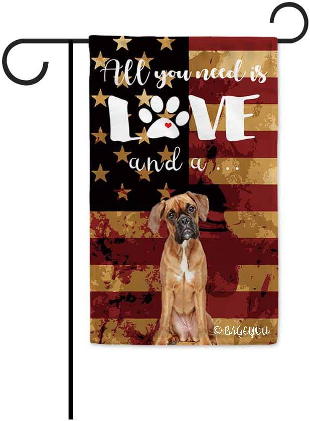 BAGEYOU All You Need is Love and a Dog Boxer Decorative Garden Flag for Outside Cute Puppy Paws with America Flag Patriotic Banner 12.5X18 Inch Printed Double Sided