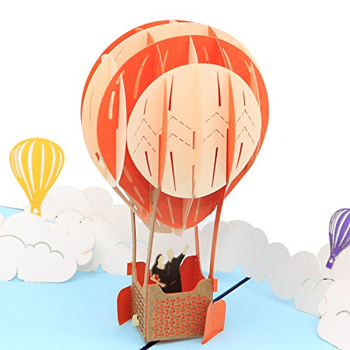 3d Pop Up Happy Birthday Card, Greeting Card - Surreal Hot-Air Balloon Ride Amid Clouds - Happy Birthday Cards, Anniversary Card, Graduation Card, Thank You Card By SolarMatrix