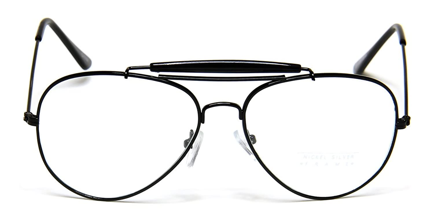 Amazon.com: Retro Aviator Clear Lens Glasses Super Vintage Classic ...