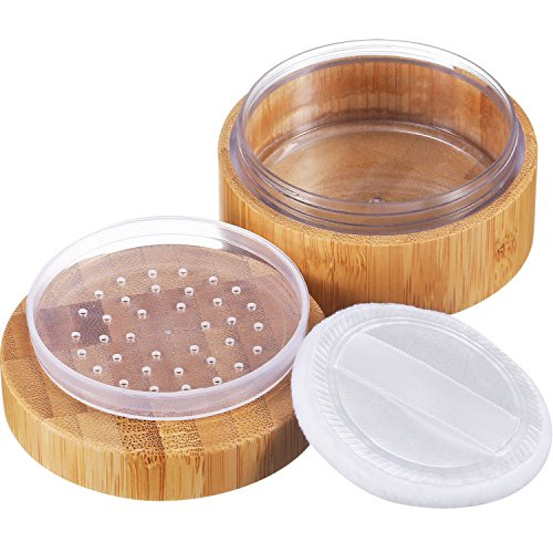 Frienda 30 ml Empty Loose Powder Container Bamboo Cosmetic Make-up Loose Powder Box Case Holder with Sifter Lids and Powder - Powder Container