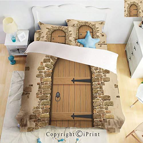 (Homenon Deep Pocket Bed Sheet Set,Wine Cellar Entrance Stone Arch Ancient Architecture European Building Decorative,Sand Brown Pale Brown,Queen Size,Wrinkle Fade Resistant,4-Piece Set)