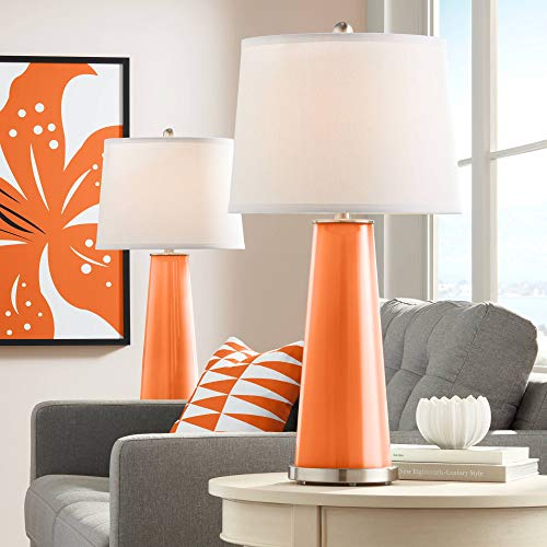 Leo Modern Table Lamps Set of 2 Invigorate Orange Glass Tapered Column White Drum Shade for Living Room Family Office - Color + ()