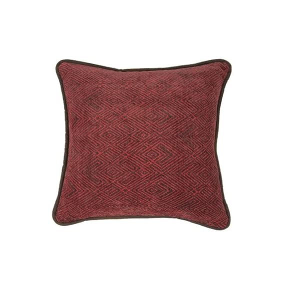 "HiEnd Accents Wilderness Ridge Chenille Faux Leather Reverse Throw Pillow, 1'6"" x 1'6"", Red - Soft cut chenille face with faux leather reverse Red & brown western lodge accent pillow 1-PC throw pillow measures 18"" x 18"" (oblong) - living-room-soft-furnishings, living-room, decorative-pillows - 51tnYRKfvFL. SS570  -"