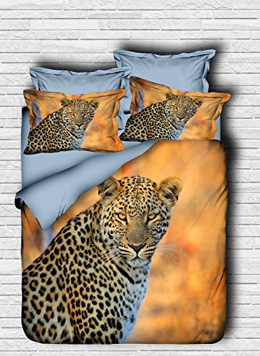 LaModaHome 3 Pcs Luxury Soft Colored Bedroom 100% Cotton Quilt Duvet Cover Set, Tiger Wild Wilderness Animal Sahara Blue Serious Queen/Full/ Bed