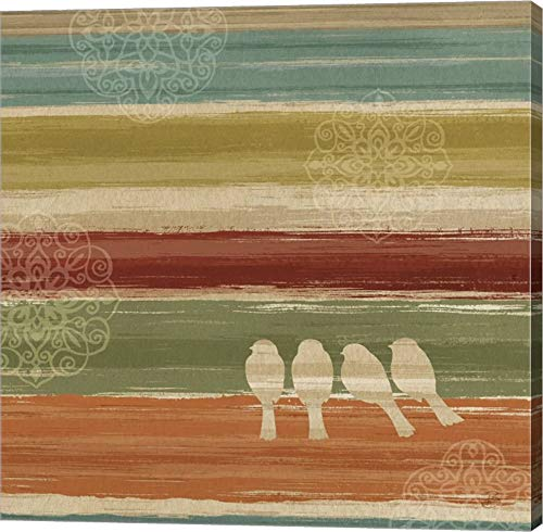 Mumbai Rainbow Birds III by Daphne Brissonnet Canvas Art Wall Picture, Gallery Wrap, 14 x 14 inches