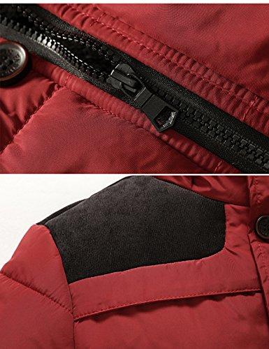 Menschwear Collare Uomo Incappucciato Foderato Puffer Addensato 3xl S Jacket Rosso Down Di Piumino Pelliccia Pile Giacca rrqCv