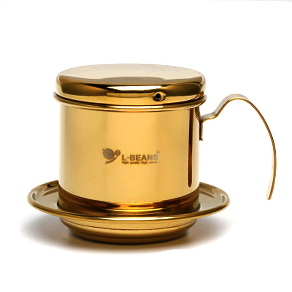 QIN.J.FANG-Home Stainless Steel 304 Coffee Filter, Paperless Reusable Vietnam Style Drip Filter,Gold