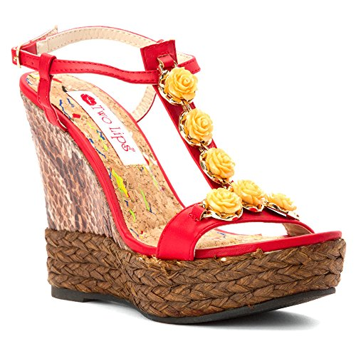 n US 8.5 Red Wedge Sandal (Red Lips Sandals)
