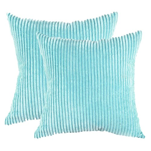 (sykting Square Pillow Covers Super Soft Striped Textured Velvet Corduroy Cushion Cases Decorative 18 x 18 Pack of 2 Light Blue)