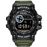 SMAEL Men's Sports Watch Outdoor Waterproof Watch Double Electronic Quartz Movement Backlit Watches (Green)
