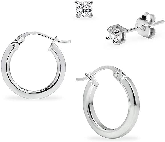 girls earrings One pair of 12mm sterling silver hoops with round CZ charms