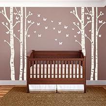 Huge Birch Tree with Butterflies Wall Decals - Floor to Ceiling Wall Art, 8 Feet Tall!