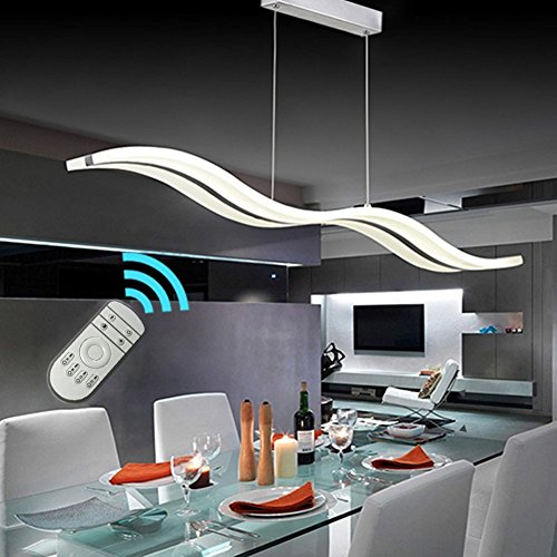 Create For Life Modern Wave LED Pendant Light Dimmable Fixture Ceiling Chandelier Light LED Hanging Light Fixture for Contemporary Living Room (Support Dimming With Remote Control 36W) by Create for Life
