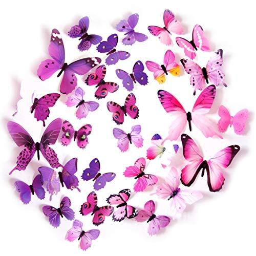 Kids' Wall Sticker Art Decor 3D Lively Butterflies DIY Art Wedding Decor Crafts 48 Pcs,24 Purple,24 Pink
