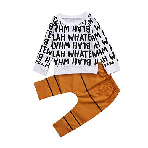 Ma&Baby Girls boy cotton Ink printingYellow long pants Suit kids Leisure time clothes motion clothing set Size1-6 Years (Tag:90/1-2 Y)